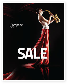 Art & Entertainment: Jazz Saxophone in Girl's Lips Sale Poster Template #03071