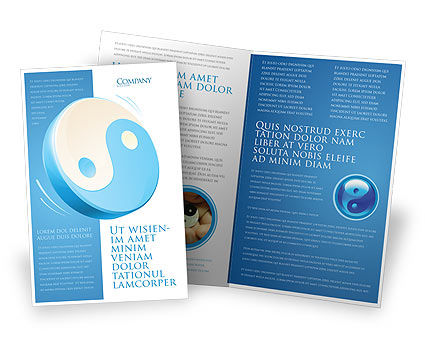 Blue Yin Yang Brochure Template, 03073, Religious/Spiritual — PoweredTemplate.com