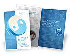Religious/Spiritual: Plantilla de folleto - yin yang azul #03073