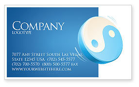Religious/Spiritual: Blue Yin Yang Business Card Template #03073