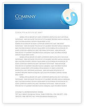 Religious/Spiritual: Blue Yin Yang Letterhead Template #03073
