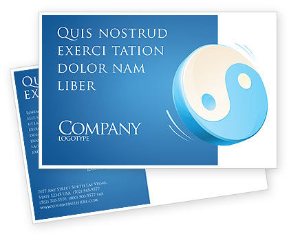 Religious/Spiritual: Blue Yin Yang Postcard Template #03073