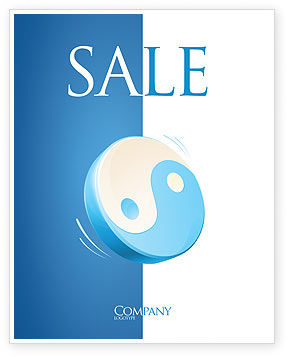 Religious/Spiritual: Blue Yin Yang Sale Poster Template #03073
