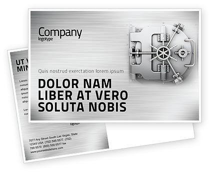 Technology, Science & Computers: Bank Safe Postcard Template #03078