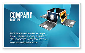 Technology, Science & Computers: Long Distance Team Work Business Card Template #03089