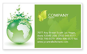 Green Environment Business Card Template, 03091, Nature & Environment — PoweredTemplate.com