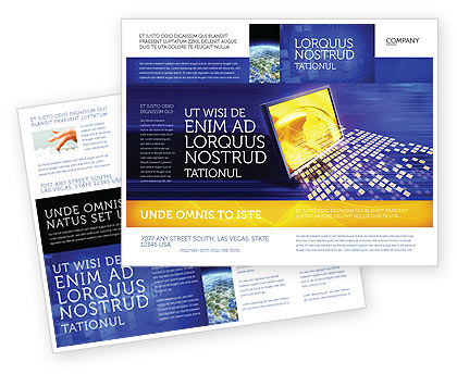 Globe Net Brochure Template, 03101, Technology, Science & Computers — PoweredTemplate.com