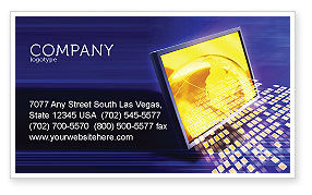 Technology, Science & Computers: Globe Net Business Card Template #03101