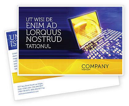 Globe Net Postcard Template, 03101, Technology, Science & Computers — PoweredTemplate.com
