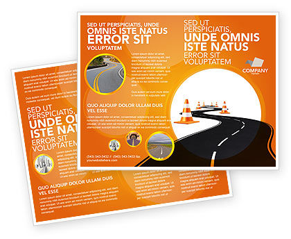 Cars/Transportation: Road Work Brochure Template #03104