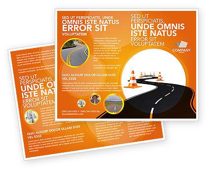 Road Work Brochure Template, 03104, Cars/Transportation — PoweredTemplate.com