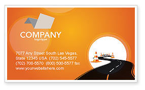 Cars/Transportation: Road Work Business Card Template #03104