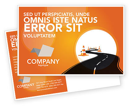Cars/Transportation: Road Work Postcard Template #03104