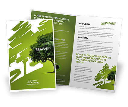 Nature & Environment: Green Tree On Light Olive Background Brochure Template #03109
