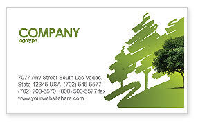 Nature & Environment: Green Tree On Light Olive Background Business Card Template #03109