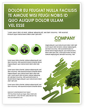 Green Tree On Light Olive Background Flyer Template, 03109, Nature & Environment — PoweredTemplate.com