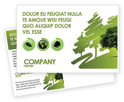 Green Tree On Light Olive Background Postcard Template
