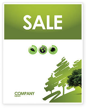 Green Tree On Light Olive Background Sale Poster Template