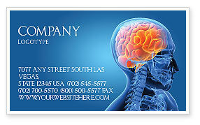Medical: Brain In Skull Business Card Template #03110