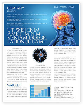 Brain In Skull Newsletter Template, 03110, Medical — PoweredTemplate.com