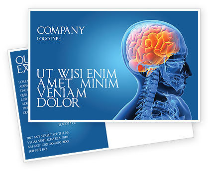 Medical: Brain In Skull Postcard Template #03110