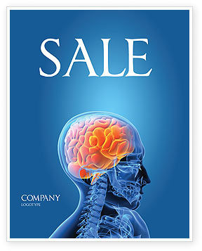 Brain In Skull Sale Poster Template, 03110, Medical — PoweredTemplate.com