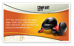 Sports: Boxing Gloves Business Card Template #03113