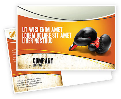 Boxing Gloves Postcard Template