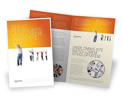 Hands Up Teenagers Brochure Template, 03124, People — PoweredTemplate.com