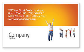 People: Hands Up Teenagers Business Card Template #03124