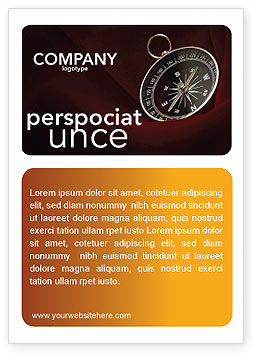 Business Concepts: Compass In A Dark Red Velvet Ad Template #03130