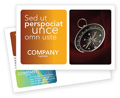 Business Concepts: Compass In A Dark Red Velvet Postcard Template #03130
