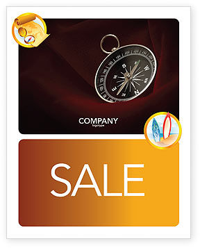 Business Concepts: Compass In A Dark Red Velvet Sale Poster Template #03130