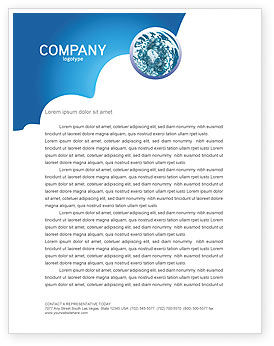 Water Theme Letterhead Template, 03137, 3D — PoweredTemplate.com
