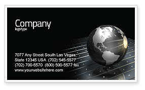 Globe Of Steel Business Card Template, 03141, Global — PoweredTemplate.com