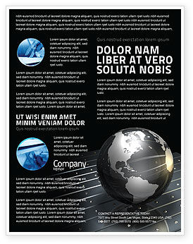 Globe Of Steel Flyer Template, 03141, Global — PoweredTemplate.com