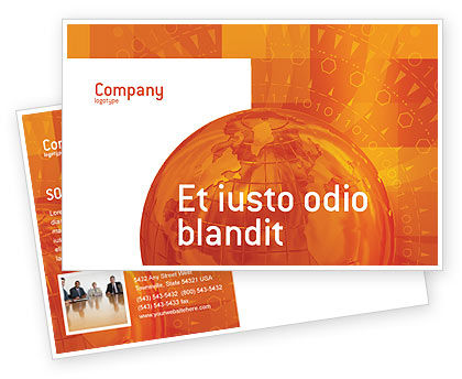 Global: Wide World Business Postcard Template #03159
