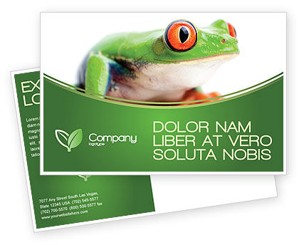 Agriculture and Animals: Tropical Green Frog Postcard Template #03160