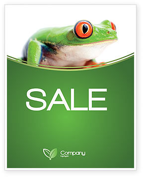 Agriculture and Animals: Tropical Green Frog Sale Poster Template #03160