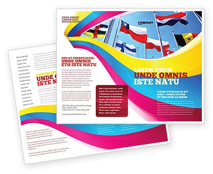 United Nations Brochure Template, 03169, Flags/International — PoweredTemplate.com