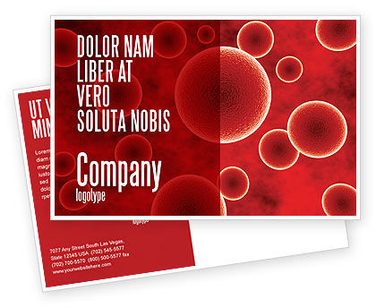 Red Spheres Postcard Template, 03177, Medical — PoweredTemplate.com