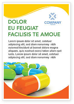 Medical: Colored Pills Ad Template #03191