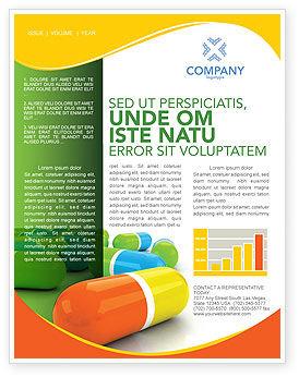 Medical: Plantilla de boletín informativo - pastillas de colores #03191