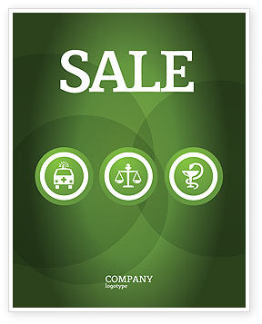 Medical: Signs Of Medicine In A Green Colors Sale Poster Template #03195