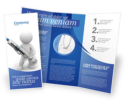 Medical: Stickman With Syringe Brochure Template #03199