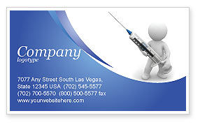 Medical: Stickman With Syringe Business Card Template #03199