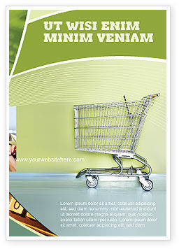 Financial/Accounting: Shopping Cart On Olive Background Ad Template #03208