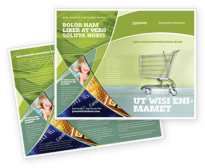 Financial/Accounting: Shopping Cart On Olive Background Brochure Template #03208