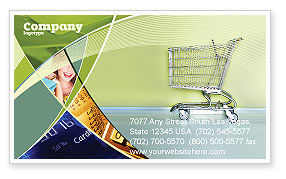 Financial/Accounting: Shopping Cart On Olive Background Business Card Template #03208