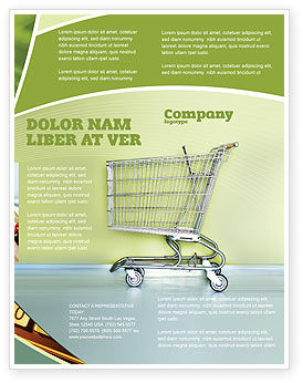 Financial/Accounting: Shopping Cart On Olive Background Flyer Template #03208